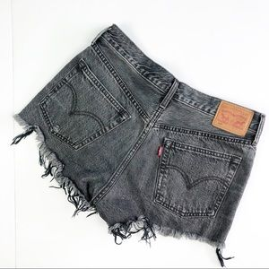 Levi's 501 distressed cutoff black shorts